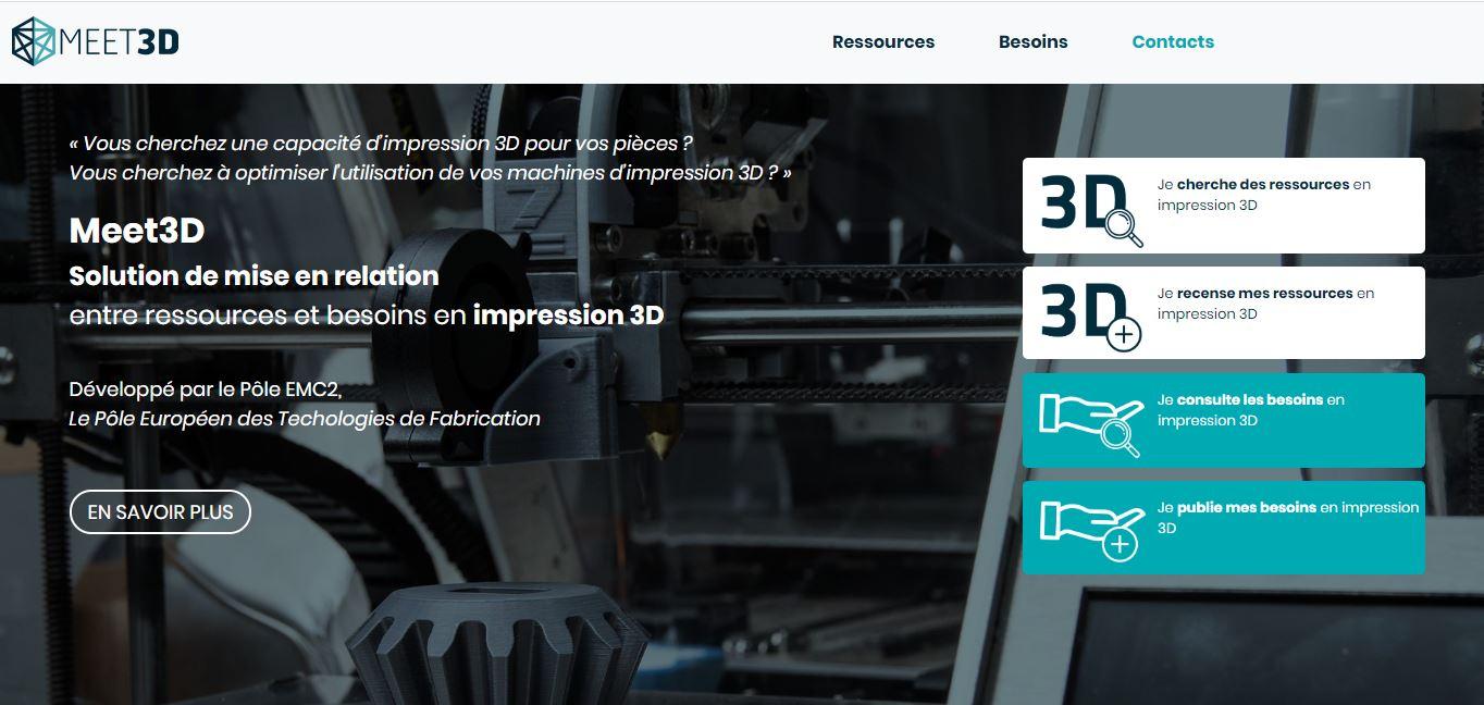 Meet3D, une plateforme de mise en relation dédiée à la fabrication additive